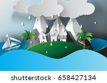 paper art of  island sea view... | Shutterstock .eps vector #658427134