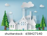 paper art of white cityscape... | Shutterstock .eps vector #658427140