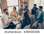 friend s gathering for feast.... | Shutterstock . vector #658430308