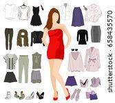woman's wardrobe elements for... | Shutterstock .eps vector #658435570