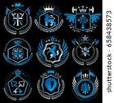 set of old style heraldry...   Shutterstock .eps vector #658438573