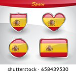 glossy spain flag icon set with ... | Shutterstock .eps vector #658439530