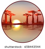 sunset or dawn in africa.... | Shutterstock .eps vector #658443544