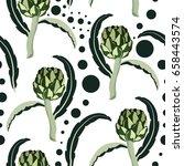 seamless pattern with artichoke....   Shutterstock .eps vector #658443574