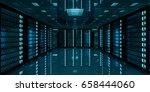 dark server room data center... | Shutterstock . vector #658444060