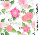 vector flowers seamless pattern ... | Shutterstock .eps vector #658447060