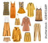 set of yellow woman clothes on... | Shutterstock . vector #658451689