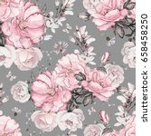 Stock photo seamless pattern with pink flowers and leaves on gray background watercolor floral pattern 658458250