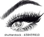 sexy eye with false eyelashes... | Shutterstock .eps vector #658459810