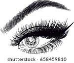 sexy eye with false eyelashes... | Shutterstock .eps vector #658459810