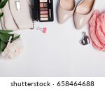 stylish woman accessories on... | Shutterstock . vector #658464688