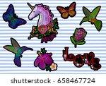 set sticker badges embroidery... | Shutterstock .eps vector #658467724