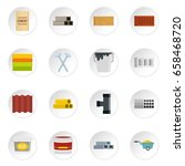 building materials icons set in ... | Shutterstock .eps vector #658468720