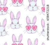 cute rabbit sketch vector... | Shutterstock .eps vector #658472218