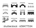 set of bridge landmark icons in ... | Shutterstock .eps vector #658477534