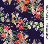 watercolor summer flowers in... | Shutterstock . vector #658478989