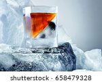 glass of whiskey. on the... | Shutterstock . vector #658479328