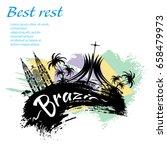 travel brazil grunge style... | Shutterstock .eps vector #658479973