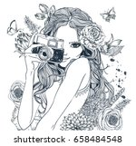 fashion girl  with camera and... | Shutterstock .eps vector #658484548