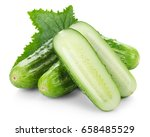 fresh cucumbers with leaf... | Shutterstock . vector #658485529