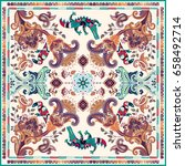 design for shawl  card  textile.... | Shutterstock . vector #658492714