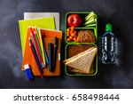 take out food lunch box with... | Shutterstock . vector #658498444