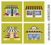 shops and stores icons set in...   Shutterstock .eps vector #658502188
