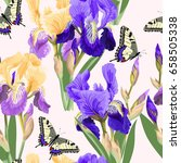 floral pattern with iris flowers | Shutterstock .eps vector #658505338