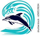 dolphin and wave | Shutterstock .eps vector #658519834