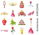 princess fairytale doll icons...   Shutterstock .eps vector #658522696