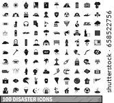 100 disaster icons set in... | Shutterstock .eps vector #658522756