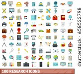 100 research icons set in flat... | Shutterstock .eps vector #658522798