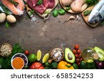 balanced diet food background.... | Shutterstock . vector #658524253