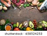 balanced diet food background.... | Shutterstock . vector #658524253