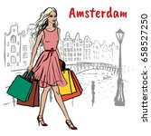 woman with shopping bags... | Shutterstock .eps vector #658527250