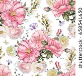 Stock photo seamless pattern with pink flowers and leaves on white background watercolor floral pattern 658541650
