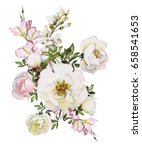 watercolor flowers isolated on... | Shutterstock . vector #658541653