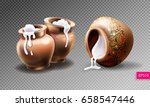 three realistic clay pots with... | Shutterstock .eps vector #658547446