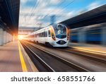 high speed train in motion at... | Shutterstock . vector #658551766