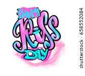 happy kiss day calligraphic... | Shutterstock .eps vector #658552084