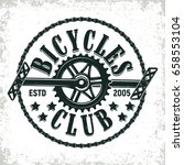 vintage bicycles club logo... | Shutterstock .eps vector #658553104