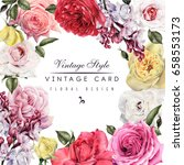 greeting card with roses and... | Shutterstock . vector #658553173