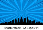 big city black outline shadows... | Shutterstock .eps vector #658556944