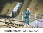 young female athlete workout at ... | Shutterstock . vector #658563664