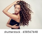 brunette  girl with long  and   ... | Shutterstock . vector #658567648
