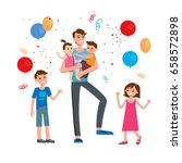 cartoon characters of family.... | Shutterstock .eps vector #658572898
