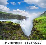 gullfoss waterfall in the... | Shutterstock . vector #658573210