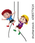 two boys climbing up the rope... | Shutterstock .eps vector #658577614