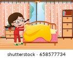 little girl making bed in... | Shutterstock .eps vector #658577734