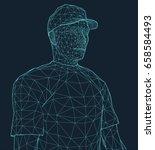 men wearing a cap in wire frame ... | Shutterstock .eps vector #658584493